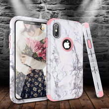 GrandEver Luxury Hard Marble PC Silicone Bumper Case for iPhone 6 6s 7 8 Plus for iPhone 5 SE X 360 Cute Unicorn 3 in 1 Cover