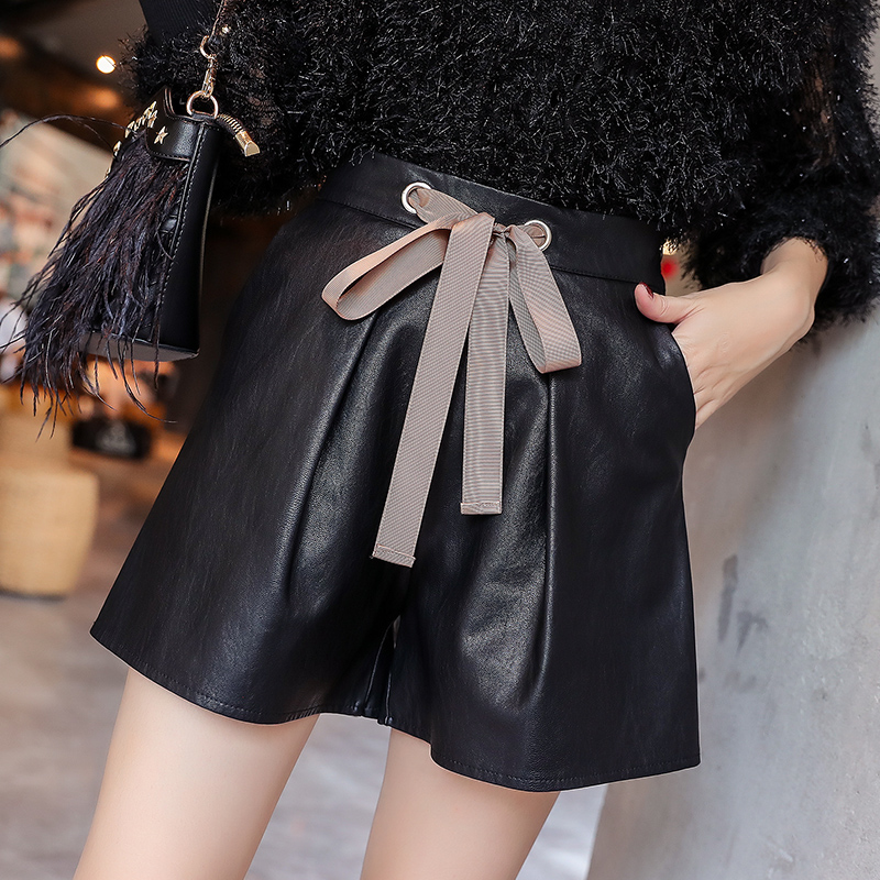 2018 Autumn Winter Women Fashion High Waist PU   Short   Girls Faux Leather   Shorts   With Slashes Bottoms For Female