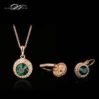 Zielony Kryształ Naszyjniki Hook Kolczyki Różowe Złoto Kolor Party/Ślub Zestawy Biżuterii Hurtowych DFS206