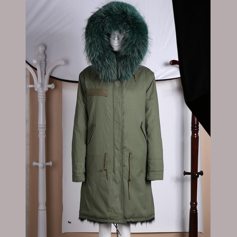 Real fur long style fox fur lining dark green winter coat for women