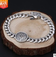 100% real silver bracelet men accessories man bracelets chain bracelet 9mm