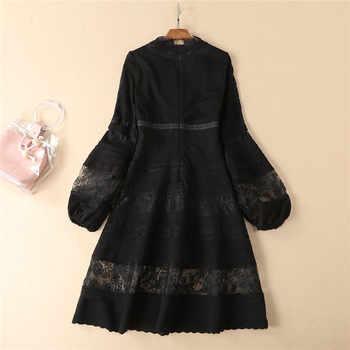 Fashion Designer Runway Dress 2019 Spring Elegant Women\'s Lantern Long Sleeve V Neck Long Patchwork Casual Dress White Black
