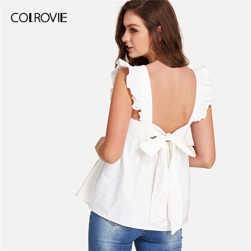 COLROVIE White Ruffle Tied Open Back Smock Sexy Top Women   Blouse     Shirt   2019 Summer Neon Green Backless Sleeveless Cute   Blouses