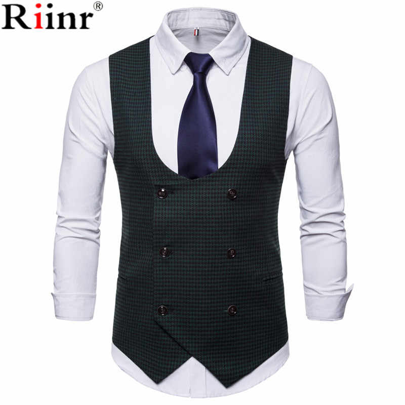 9db91655d14 Riinr New Arrival Mens Casual Vest Suit Brand Male Fashion Double-Breasted  Design Sleeveless Dress