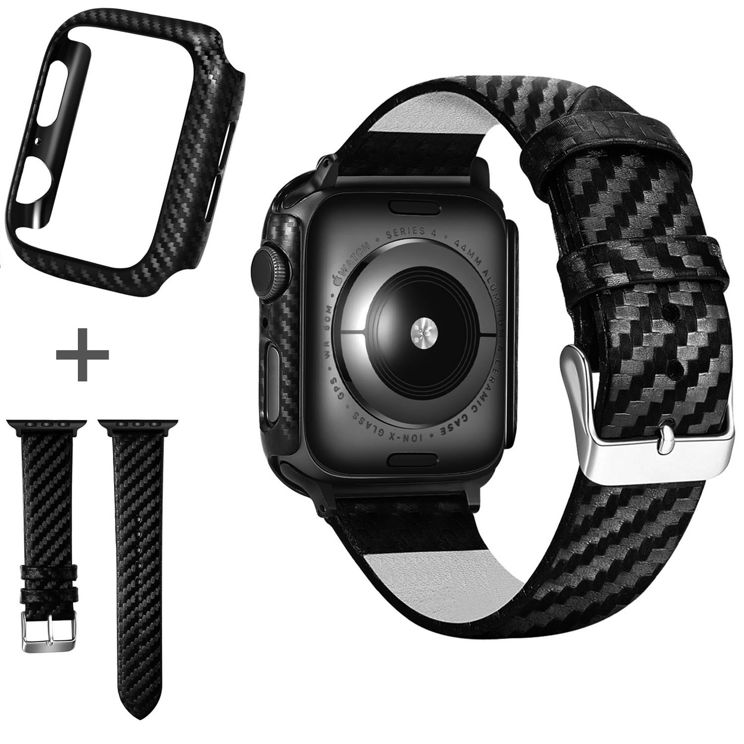 Black Carbon Protective Case For Apple Watch Bands 42mm 44mm 38mm 40mm Watch Covers Bumper for iWatch Series 5 4 3 2 1 Strap image