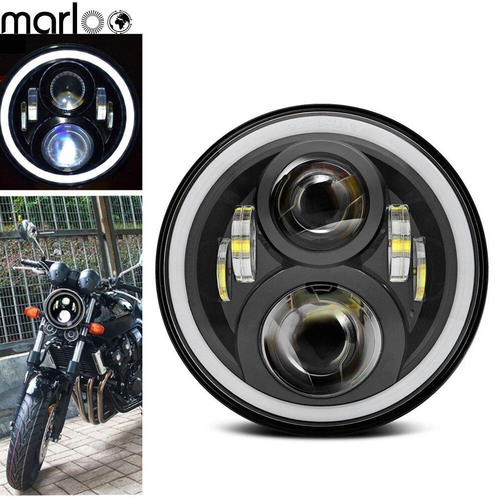 Marloo For Honda Headlight 7'' LED Motorcycle Headlamp With DRL Halo 75W Round Led For Honda CB 400 CB 1300 Honda Hornet cb 180 page 7