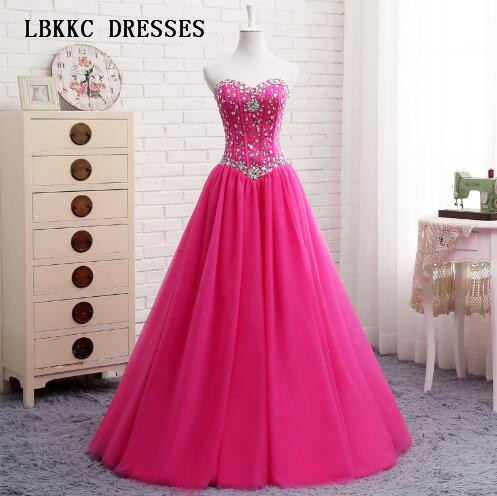 Une ligne robes de bal balayeuse Top perlé robe de soirée Rose longueur de plancher Vestido Festa Longo