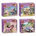 4 peças/lote bela amigos meninas kit modelo de blocos de construção figuras montar tijolo bloco iluminai diy crianças brinquedos dos presentes do natal
