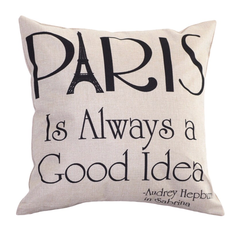 Linen Pillow Case Paris Is Always A Good Idea Leaning Cushion Throw