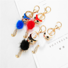 Fashion pop fur fox key chain car key bag latest explosion models children's student key pendant car pendant key chain fashion girl bag pendant fan shape tassels key chain car ornaments