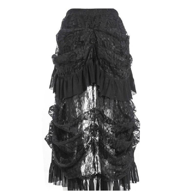 Plus Size Steampunk Gothic Vintage Skirt Victorian Lace Ruffle Lolita Skirt Retro High Waist  Black Punk Women Skirts