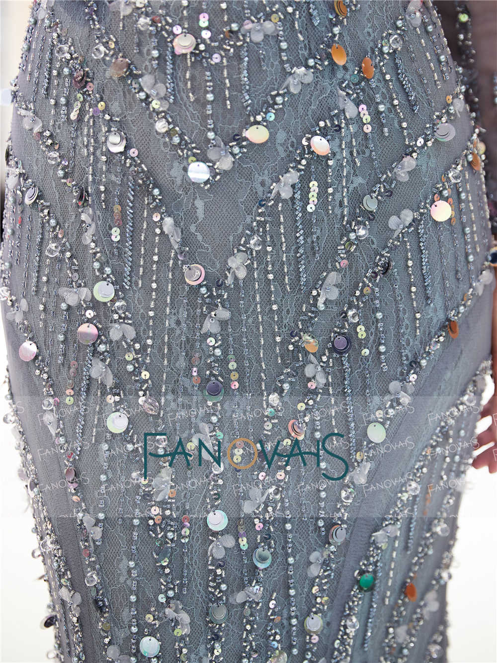 ee00d8f8d ... Grey Mermaid Evening Dresses Long Sleeves V-Neck Delicate Beaded Prom  Dress 2019 Tiered Evening