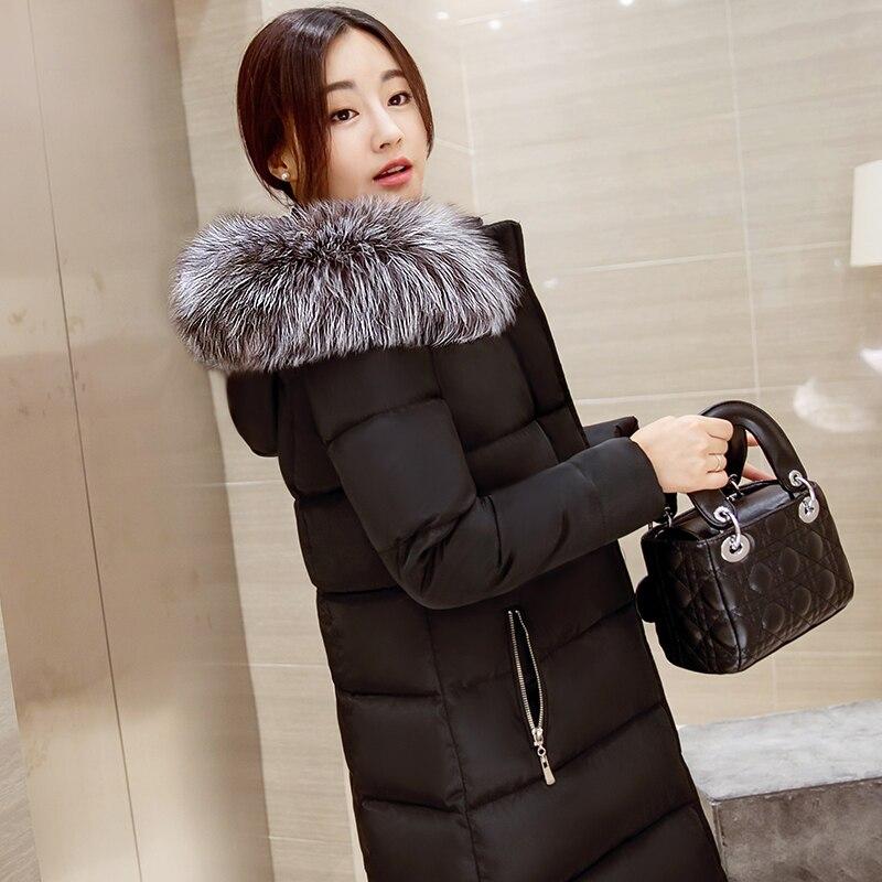 цены на Wadded jacket 2017 medium-long thickening slim fur collar down jacket cotton-padded female winter outerwear в интернет-магазинах