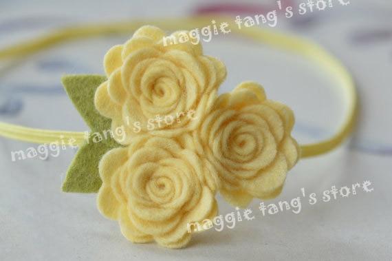 "2.5""-3"" Yellow Girl's Felt Rose Flower Blossoms headband Baby's felt hair bows flowers hair bands B017 60pcs"