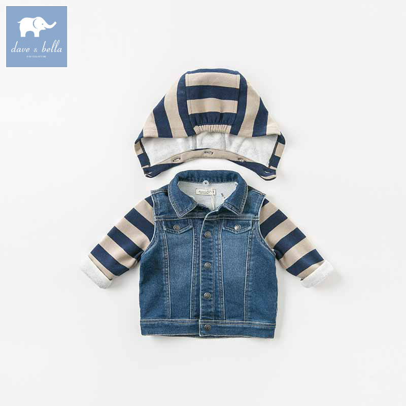 DB8705 dave bella autumn baby boys hooded coat kids denim outerwear children hight quality clothes infant toddler clothing db5941 dave bella autumn baby boys toddler stars print overalls children high quality overalls infant denim clothes