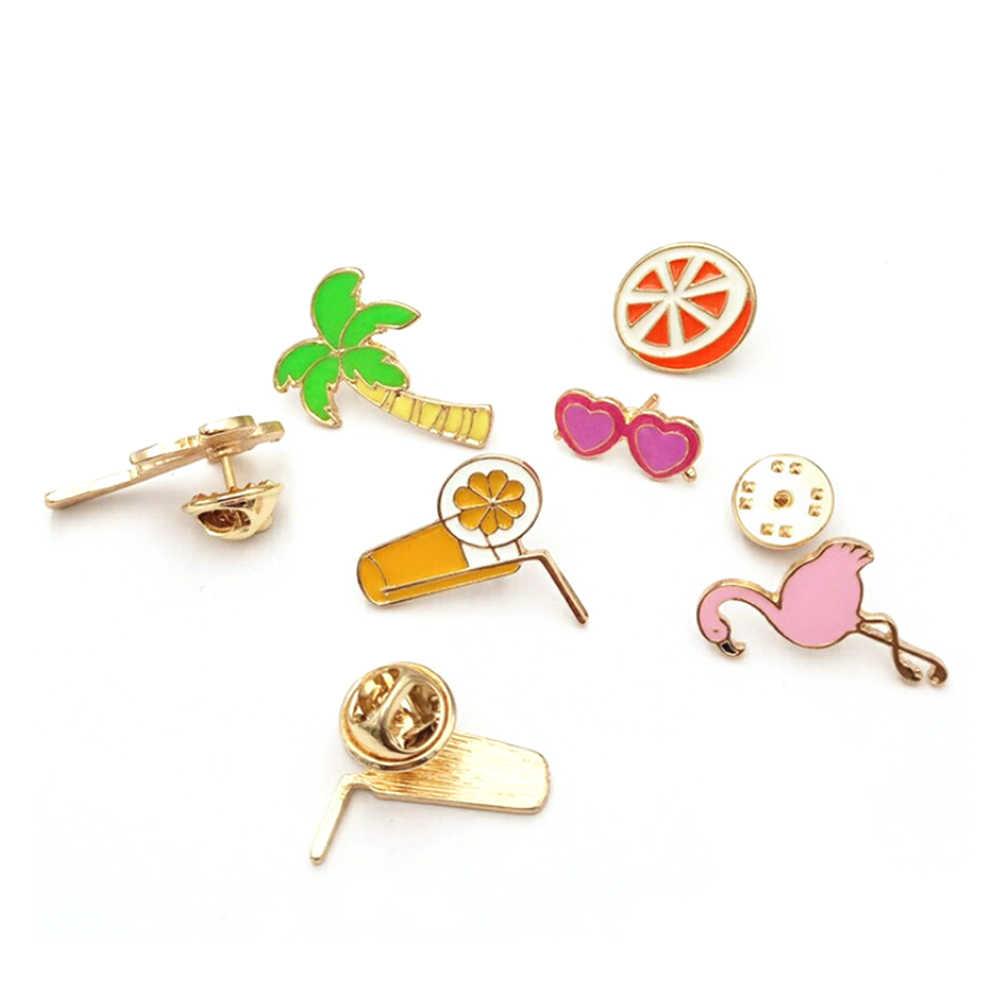 Palm tree Flamingo Orange Juice Heart Sunglasses Pins Hard enamel lapel pins Badges Brooches Backpack Jacket Accessories