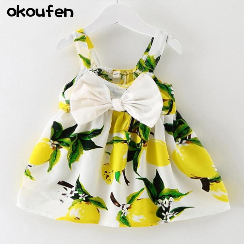 2018 nové dětské šaty pro dívky Děti děti oblečení letní květiny rostliny tisk dívky šaty luk batole šaty maloobchodní