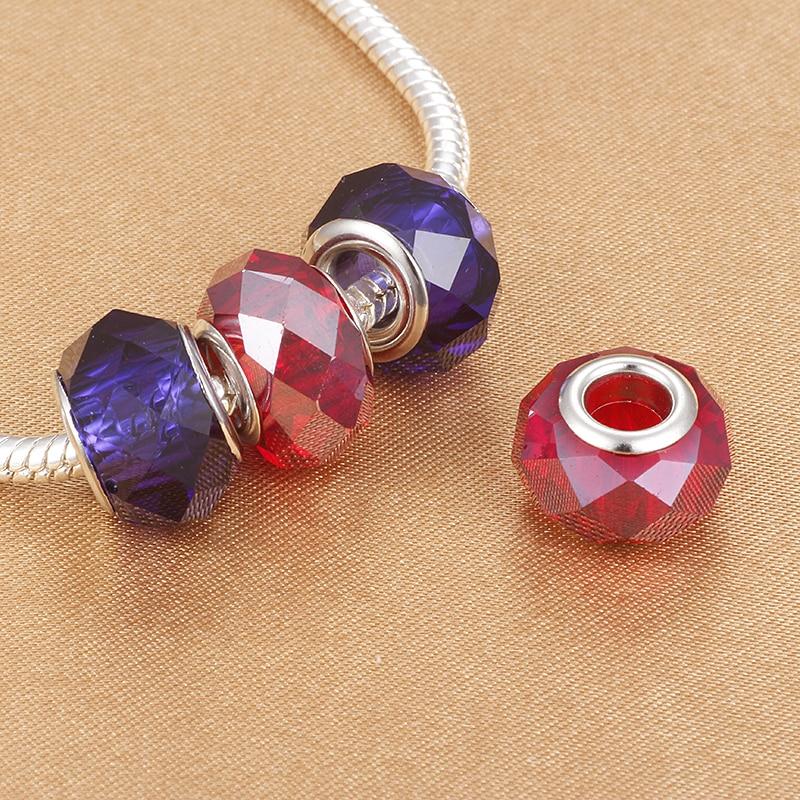 HOMOD Nice Clear Crystal Big Hole Pattern Lampwork Charm Beads Fit Pandora Charm Bracelet Women Love Gift DIY Jewelry