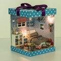 Кукольный Домик миниатюре Деревянный кукольный домик миниатюрный 3D Ручной Работы Кабина Игрушки куклы Для Детей Игрушки Рождество Подарок На День Рождения 2015 Новый