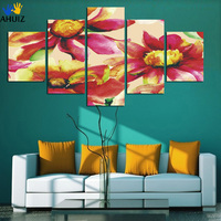 Selling Free Shipping 5 Panel No Framed Sunflower Painting Canvas Picture For Sitting Room Home Decor