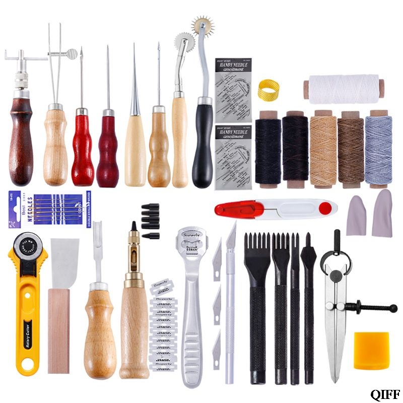 Drop Ship Leather Craft Punch Tools Repair Kit Hand Stitching Carving Working Sewing Saddle Groover Waxed
