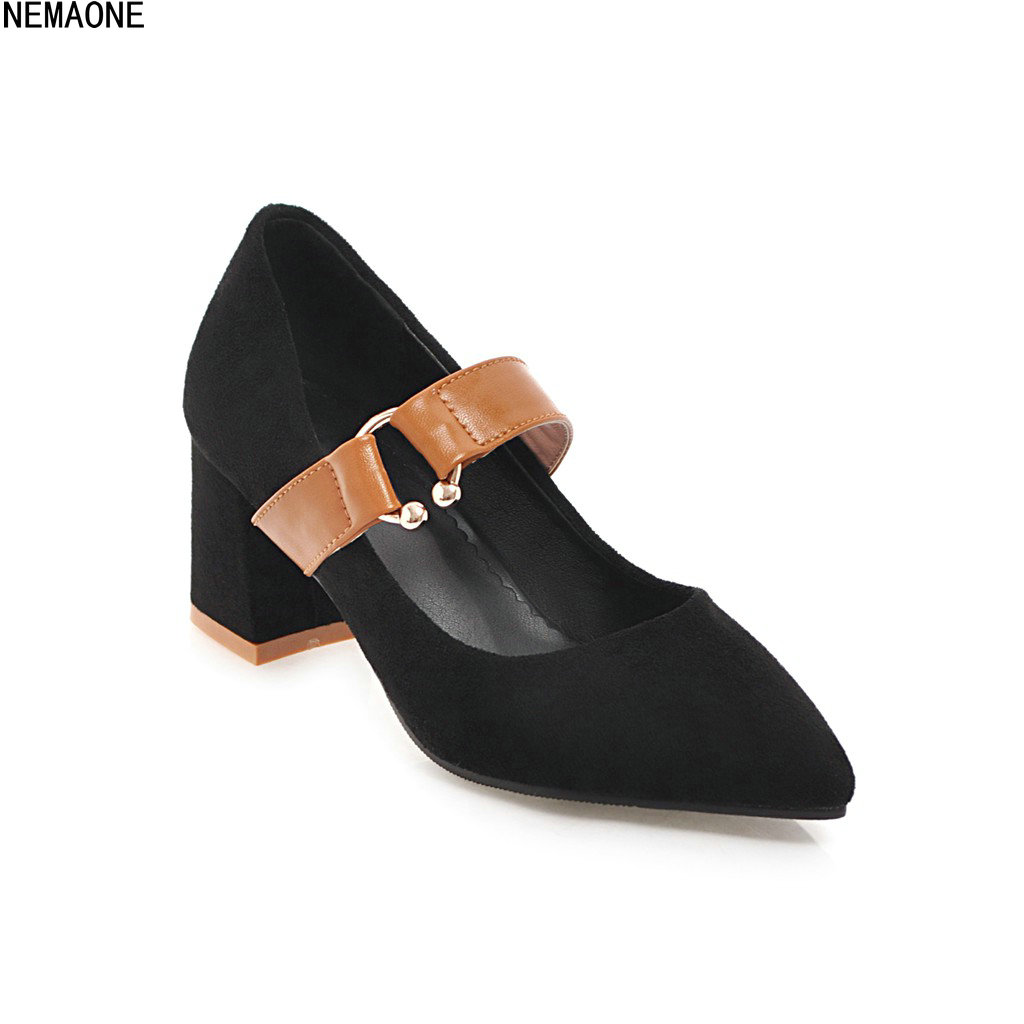 NEMAONE 2018 New High heels Square heel Pointed toe shoes Spring Autumu A word band with decoration Round Metal Women pumps