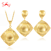 Jewelry-Sets Earrings Ethnic Women Necklace Party Wedding Pendant Square for Sunny Birthday-Gifts