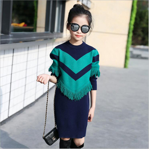 Image 2 - Kids Sweater Dress Spring Autumn Knitted Girls Dress Long Warm Teenage Princess Dress 6 8 10 12 14 Kids Girls Clothes