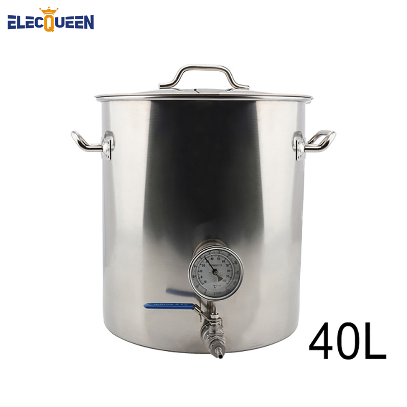 40L Home Brew Kettle Stainless Steel Beer Pot with Weldless Thermometer & 2-Piece Ball Valve Accessories DIY Kit