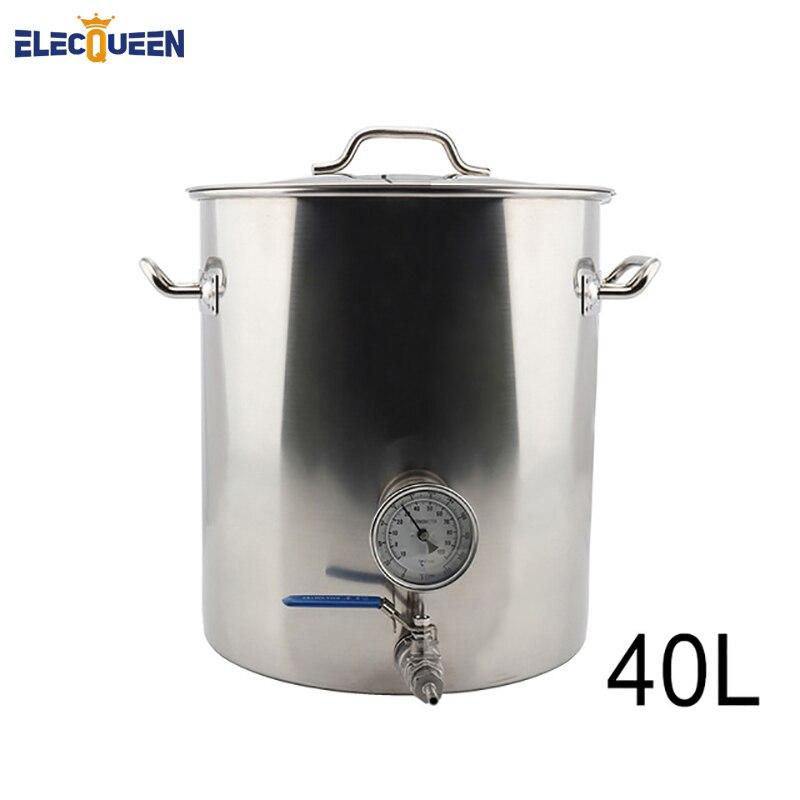 40L Ev Demlemek Su Isıtıcısı Paslanmaz Çelik Bira Pot Kaynaksız Termometre ve 2 Parçalı Küresel Vana Aksesuarları DIY Kiti