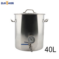 40L Home Brew Kettle Stainless Steel Beer Pot with Weldless Thermometer & 2 Piece Ball Valve Accessories DIY Kit