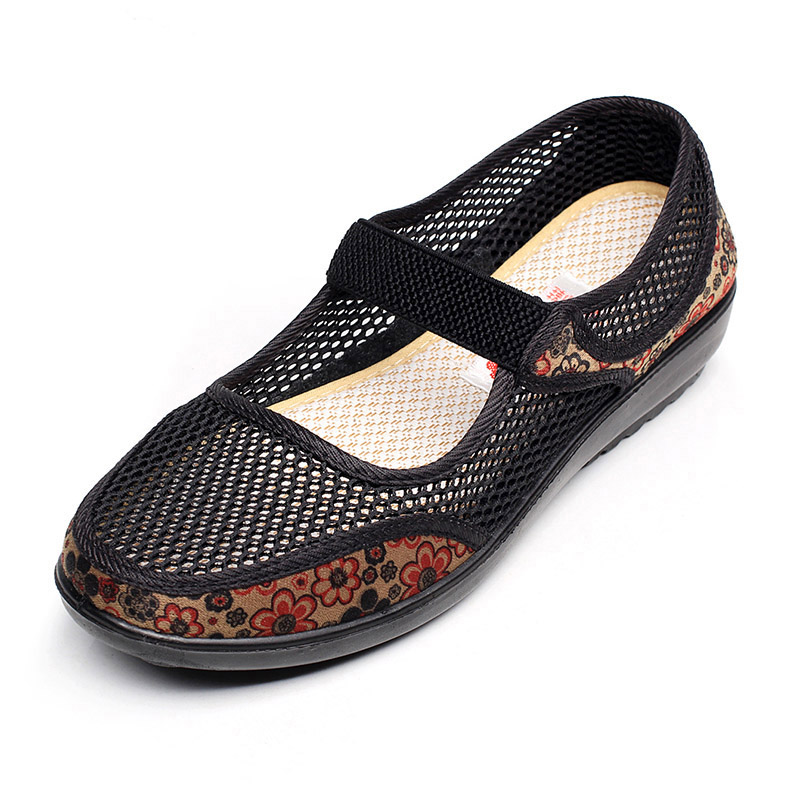 XQ New Summer Mesh Breathable Flat Shoes For Women Elastic Shallow Mouth Women Sandals Non-slip Large Size Women's Shoes 1767 gogc 2018 new floral denim slipony women breathable shallow shoes footwear flat shoes women fashion sneakers women summer spring