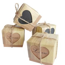 10 Pcs/lot Romantic love heart Kraft Paper Candy Gift Box Wedding Candy Box  with Burlap Packaging Bags Square & Party for guest metable 100pcs lot romantic double heart candy boxes festival wedding casamento xmas gift packaging box 5 5 5cm wc161s