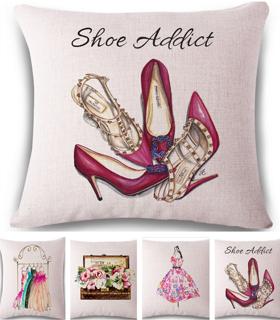 Good Fashion Dress High Heeled Shoes Linen Cotton Pillow Cover Home Decor  Cushion Cover Decorative Throw