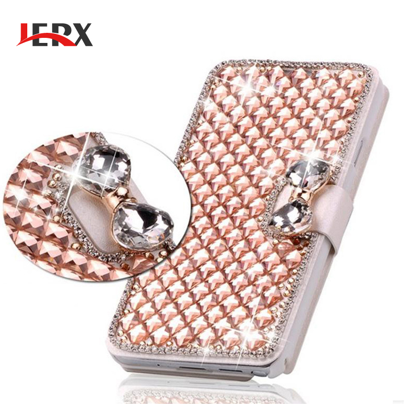 JERX For Samsung Galaxy S6 S7 Edge Case Luxury Bling Crystal Rhinestone Diamond Flip Case For