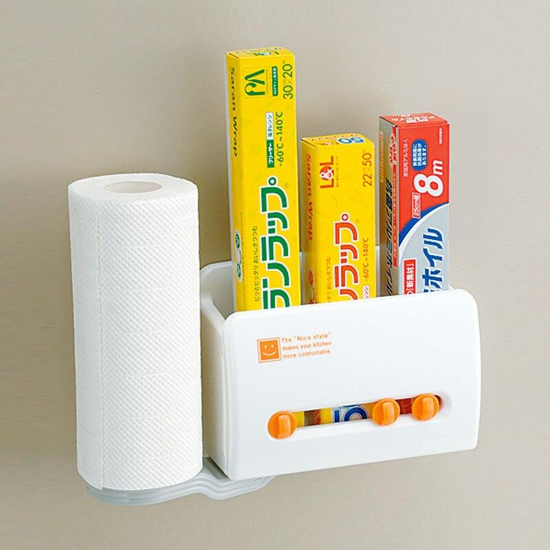 Japonais cuisine papier serviette serviette rouleau papier étagère film plastique boîte de rangement réfrigérateur ventouse aimant rack lo1019154