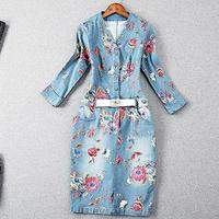 new Fashion Women three quarter Sleeve Floral Printed Dresses Denim Plus Size package hip pencil Dress
