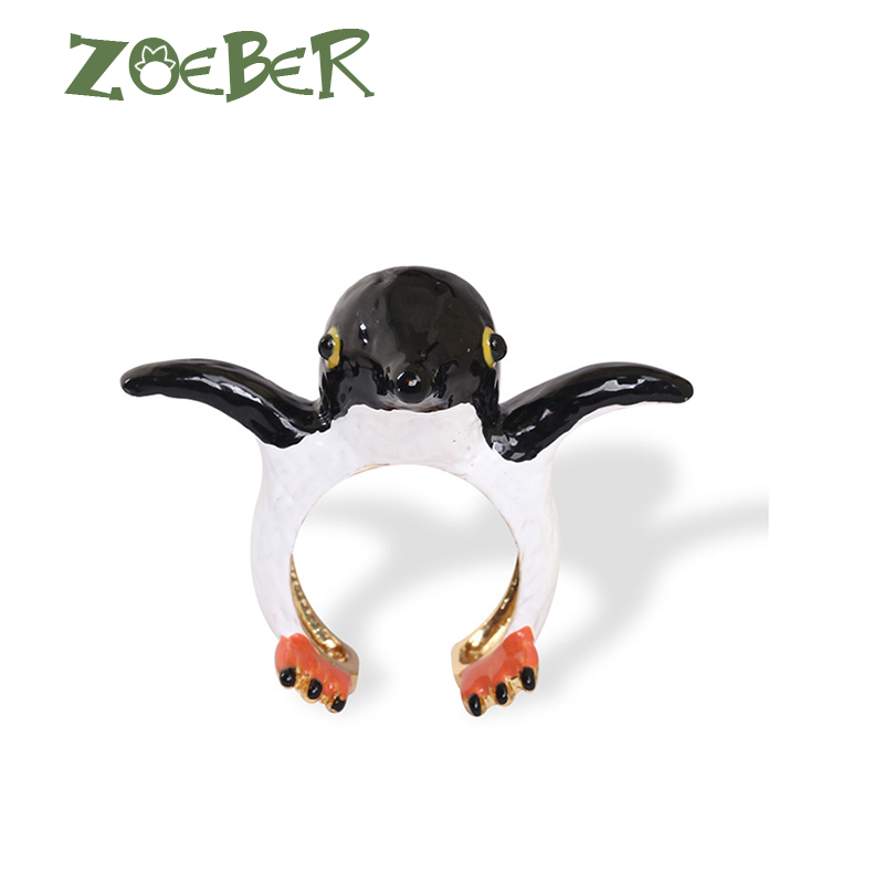 Zoeber Party Gifts Women Party Animal Rings for Women Fashion 3D Enamel Glaze Penguin Ring Set RJ2118 цена в Москве и Питере