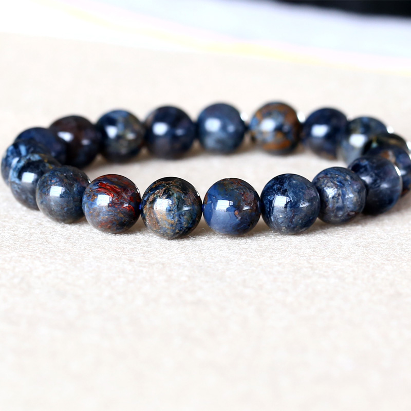 Genuine Natural Dark Blue Pietersite Namibia Stretch Men's Bracelet Round Beads 10mm 05034 недорого