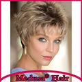 Medusa hair products: Classic pixie cut styles Synthetic wigs for women Short wavy Mix color wig with bangs Peruca curta SW0046A