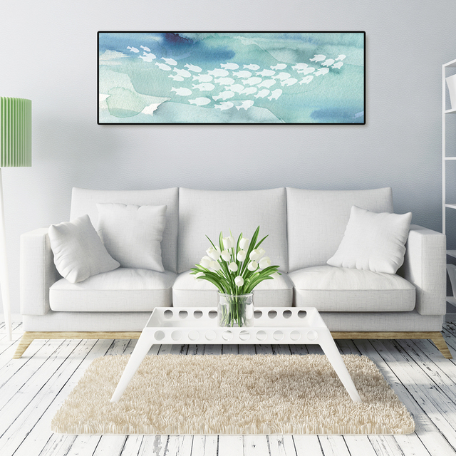 Sea life fish watercolor style cotton canvas painting painting ...