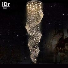 Лестницы свет длинные кристалл лампа Высокого класса свет висит проволока винтовая лестница двухуровневая вилла большая гостиная висит Люстры