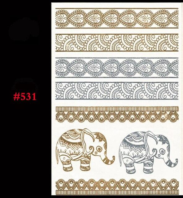 1 Piece Of Temporary Tattoo Take Sexy Gold Jewelry Flash Metal Bracelet Stickers Timbo Plants Tattoo Stickers