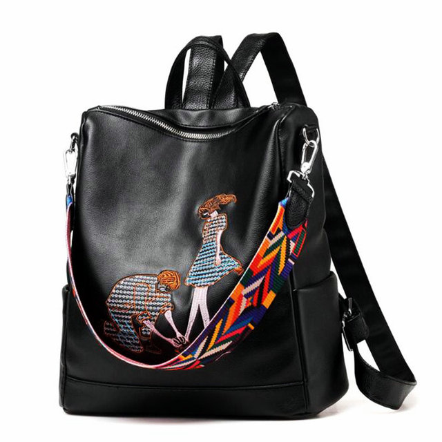 ad23458ba5e6 2019 Women PU Fitness Backpack Pop Ethnic Style Embroidery Sporting Bag  Waterproof Women Message Bag Girl Gym Storage Knapsack