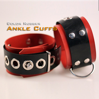 (DM5522) 100% Natural Latex Pure Handmade Rubber Ankle Cuffs Red The Alternative Slave Bandage Can Be Locked Rubber Fetish