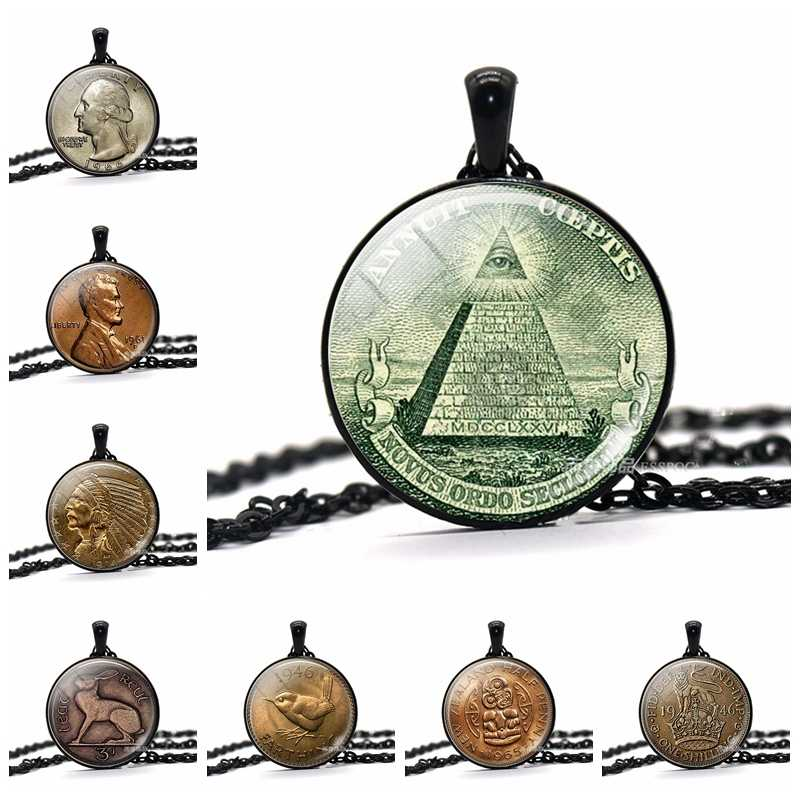 Semua Melihat Kalung Mata Satu Dolar Koin Liontin Mata Providence Vintage Perhiasan Mesir Piramida Kalung untuk Pria Wanita