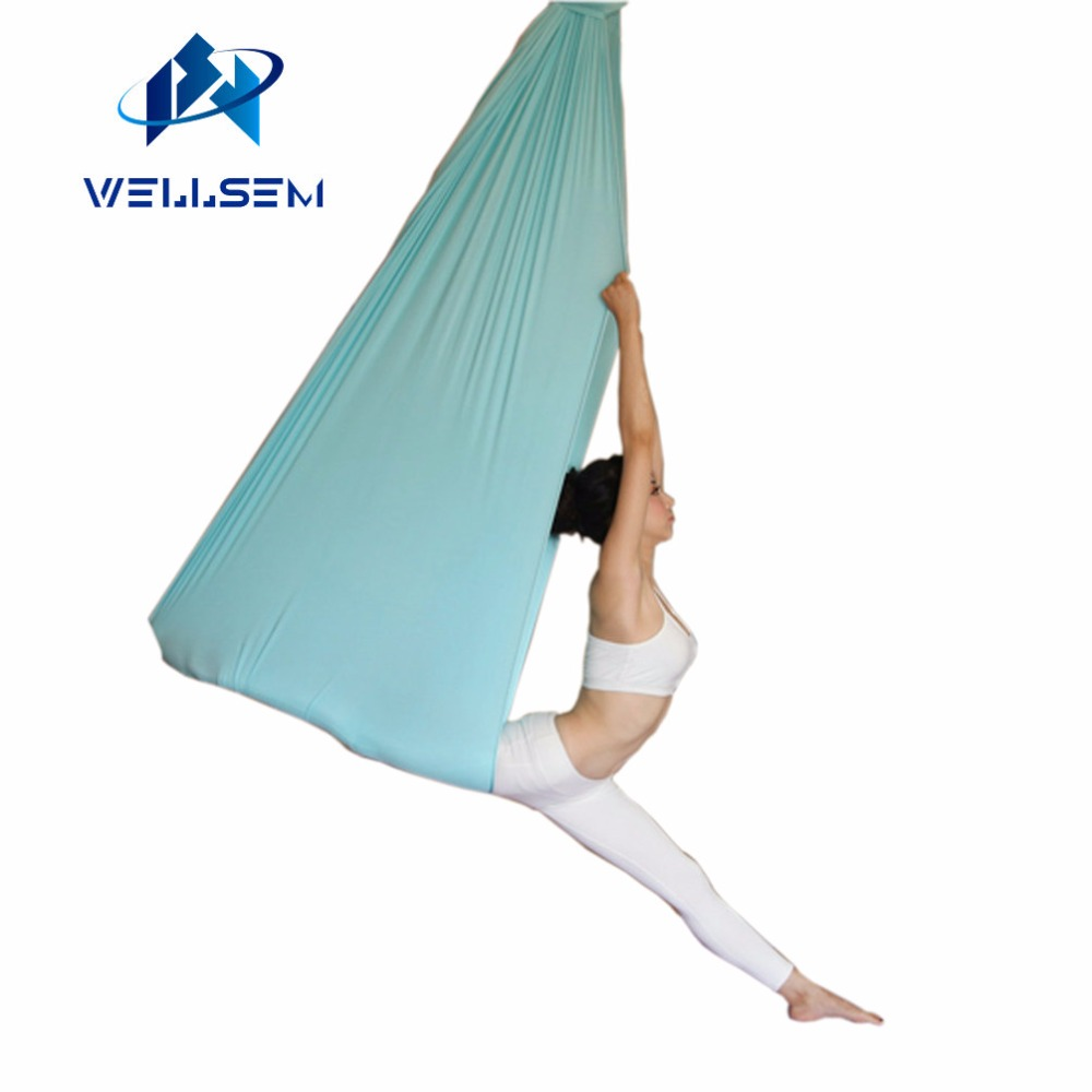 5 meter top quality Flying Yoga Anti-Gravity yoga hammock Swing fabric Aerial Traction Device for yoga for yoga stadium 5 2 8 meter full set aerial anti gravity yoga hammock swing yoga 1 pair carabiner 1 pair extender rope 1pair ring mount