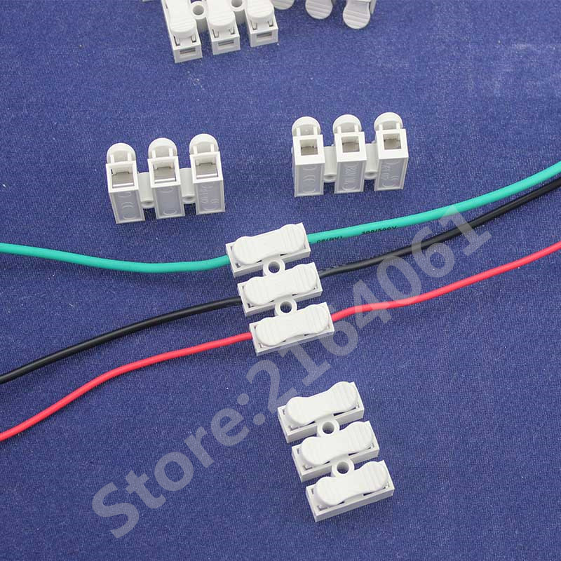 50Pcs 3 Way push quick wire Spring connector Easy to install no welding no screws cable clamp Terminal Wiring Block 3pin 50pcs d203b d203 to 3 sensors