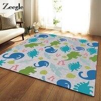 Zeegle Colorful Dinosaur Printed Large Size Home Decor Rugs Bedroom Carpet Non slip Sofa Bedside Area Rug Baby Crawling Mats
