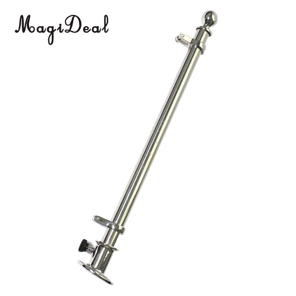 Durable 30'' Marine Boat 316 Stainless Steel Deck Flag Pole with Socket Base for Kayak Canoe Boat Dinghy Yacht Accessories